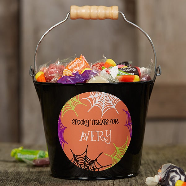 Personalized Halloween Mini Metal Bucket - Sweets & Treats - 17941