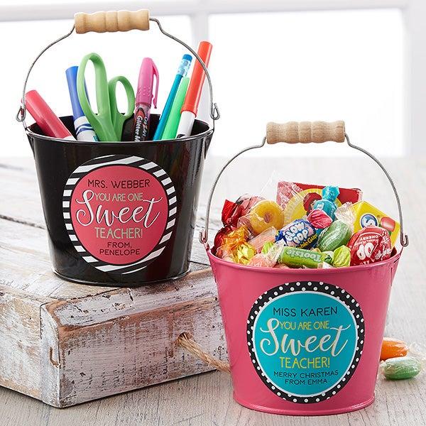 Personalized Teacher Gifts - Mini Metal Bucket - 17942