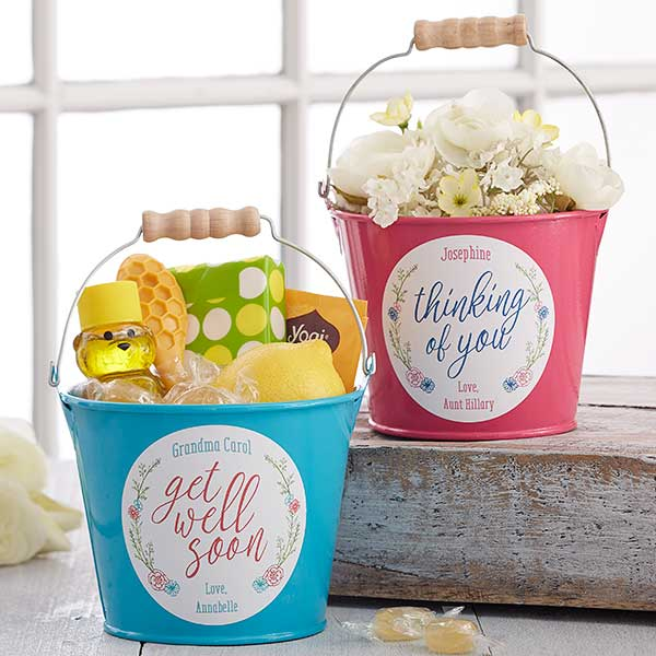 Personalized Metal Buckets - Get Well Soon - 17943