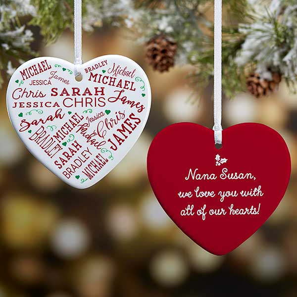 Christmas Heart Decoration.2 Sided Personalized Heart Ornament Close To Her Heart