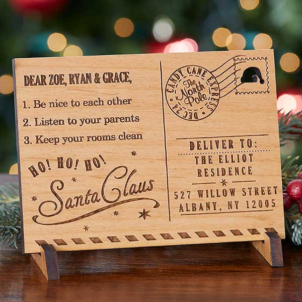 Personalized Wood Postcard From Santa - 17958
