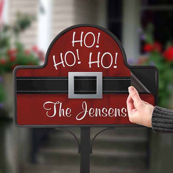 Personalized Ho Ho Ho Santa Belt Christmas Yard Stake - 17959