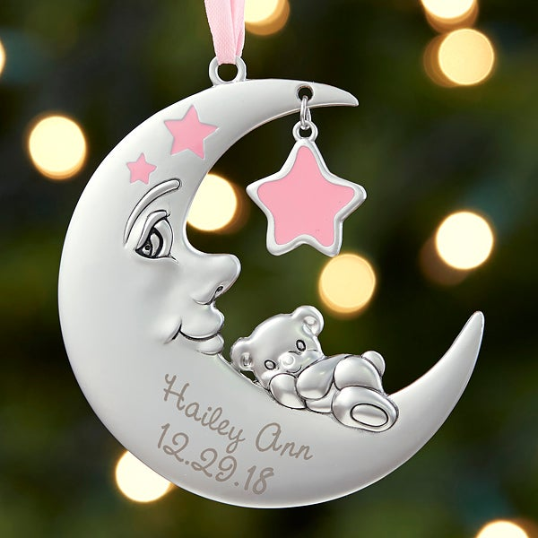 Baby Girl First Christmas Ornament - Personalized Moon