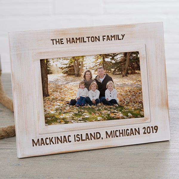 Family Memories Engraved White Washed Picture Frame
