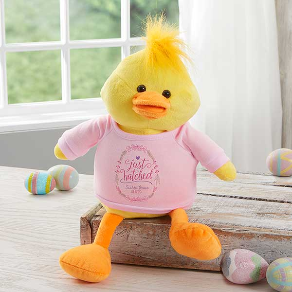 Personalized Baby Stuffed Animals, Personalized Baby Gifts Just Hatched Plush Duck