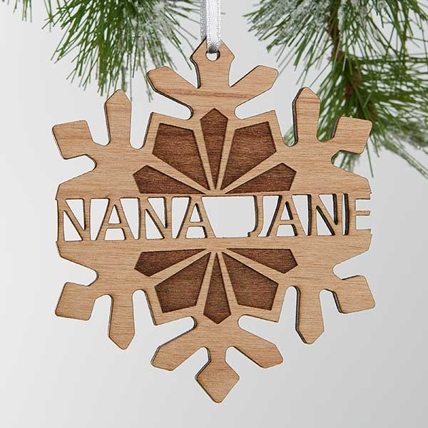 Personalized Wooden Snowflake Christmas Ornament - 18059