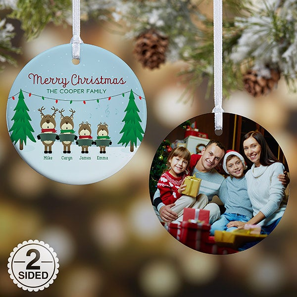 Personalized Reindeer Family Christmas Ornaments - 18063 - Personalized Reindeer Family Christmas Photo Ornament - Christmas