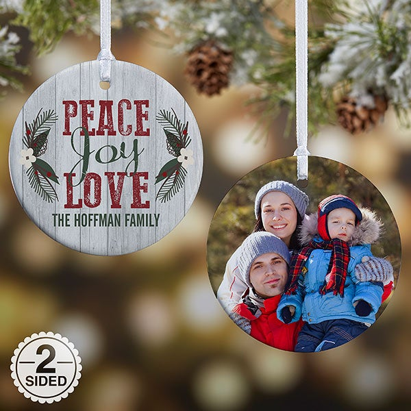 Personalized Rustic Christmas Ornaments - Peace Love Joy - 18065