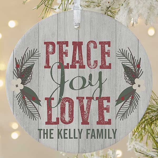 Peace Christmas Ornament.Personalized Peace Joy Love Christmas Ornament