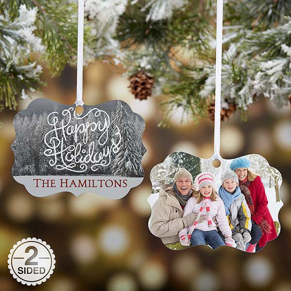 Personalized Metal Photo Ornament - White Christmas - 18066