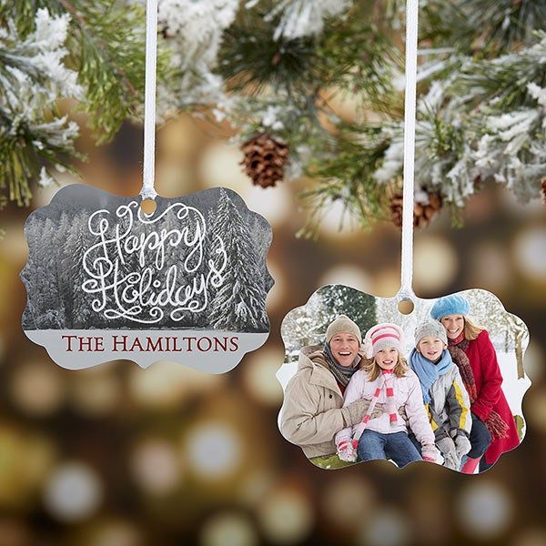 White Christmas Personalized Photo Ornament