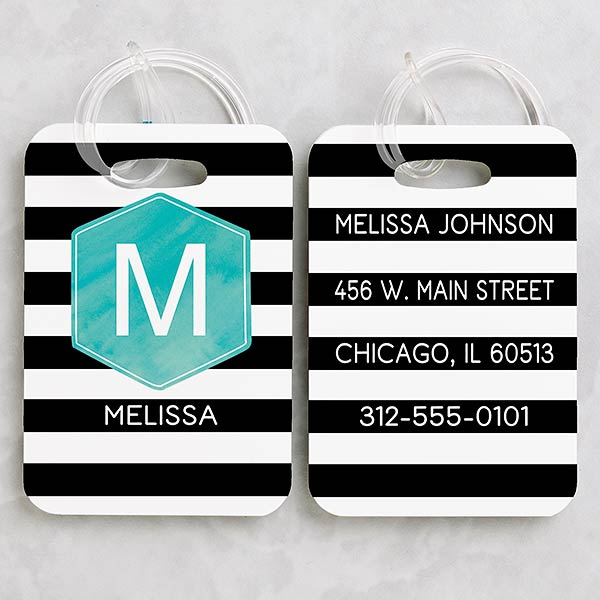Personalized Luggage Tag Set - Modern Stripe - 18093