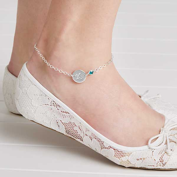 Personalized Ankle Bracelets With Swarovski Birthstones - 18098D