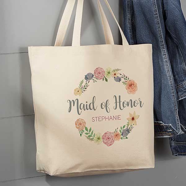6oz Light Weight Natural Canvas Succulent Bouquet Floral Wreath Monogram Canvas Tote Custom Personalized wb257