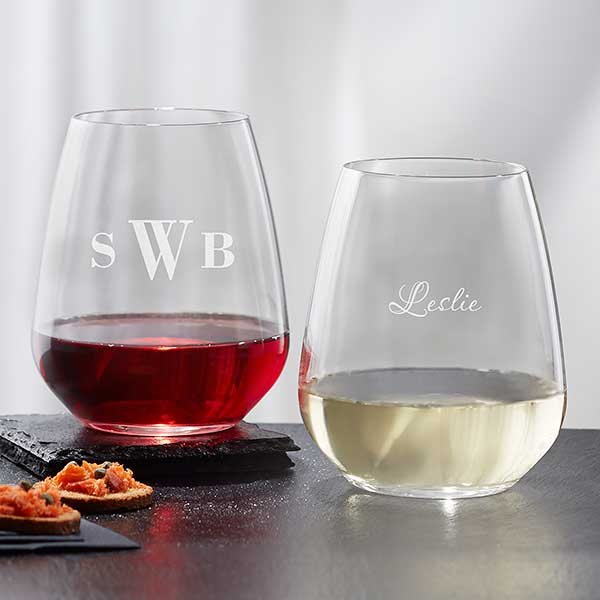 Personalized Stemless Wine Glasses Monogram