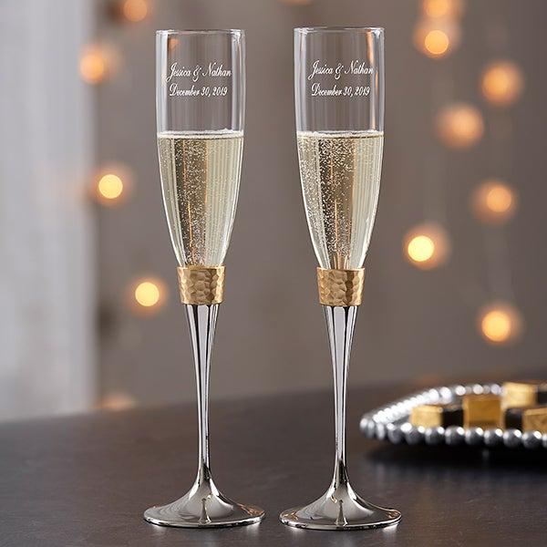 Engraved Wedding Champagne Flutes - Gold Hammered - 18167