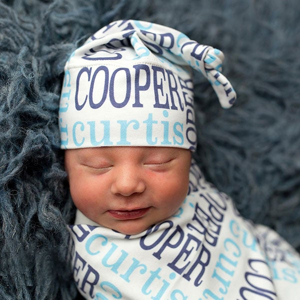 Personalized Baby Hat & Swaddle Blanket - Classic Name - 18171D