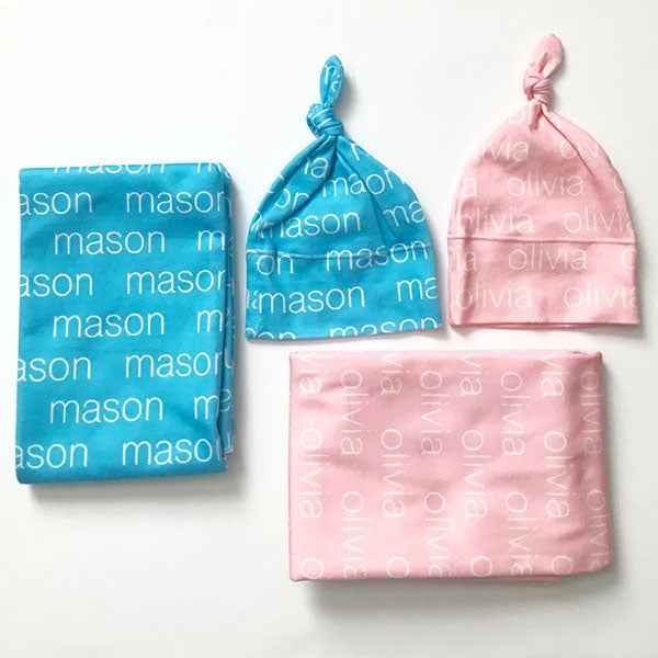 Personalized Swaddle Blanket & Baby Hat - Modern Name - 18172D