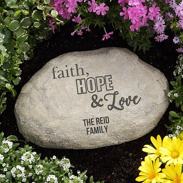 Personalized Garden Stone - Faith, Hope, Love - 18193