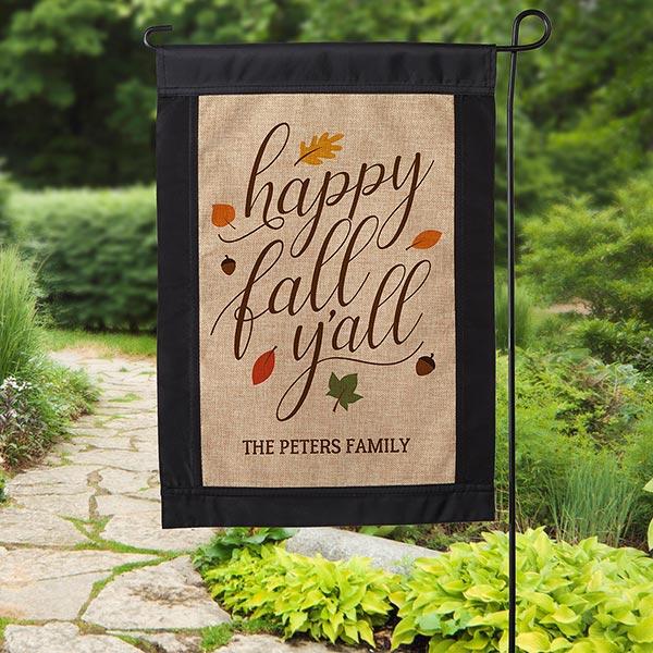 Happy Fall Y'All Personalized Burlap Garden Flag - 18200