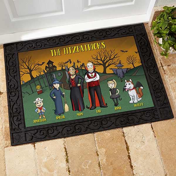 Halloween Family Characters Personalized Doormats - 18207