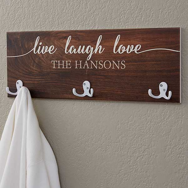 Personalized Coat Rack - Live Laugh Love - 18226