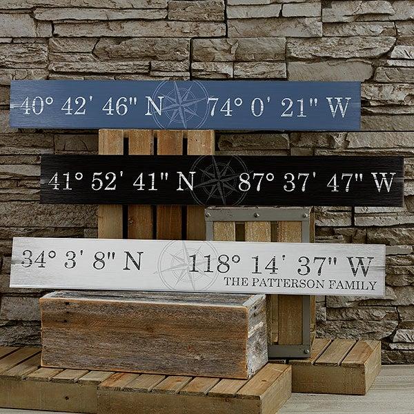 Latitude Longitude Personalized Wood Sign