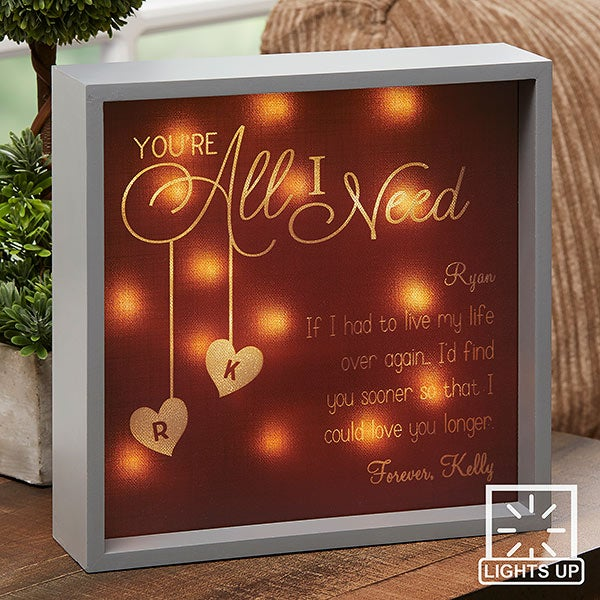 Personalized LED Light Shadow Box - You're All I Need - 18268