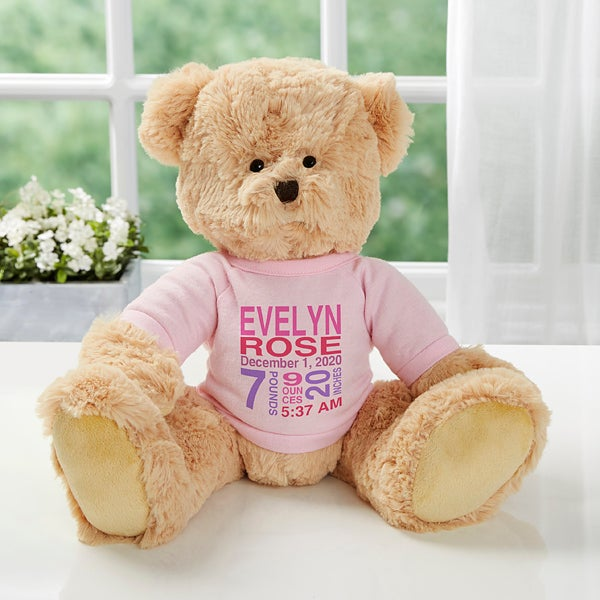 PERSONALISED BOY GIRL TEDDY BEAR NEW BABY SHOWER BIRTH GIFT NAME /& DATE