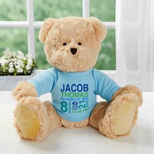 Personalised Teddy Bear Boys Bunny Rabbit,New baby//Christening//Birthday Gift