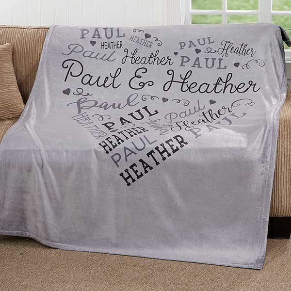 Personalized Word Art Blankets - Loving Heart - 18317