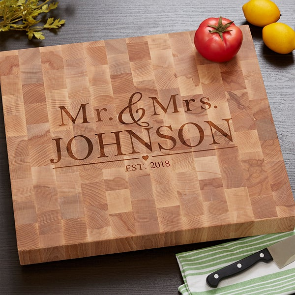 Personalized Butcher Block Cutting Board - Wedding Gift - 18333