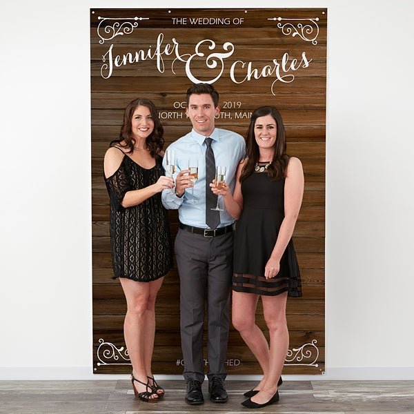 Personalized Wedding Photo Backdrops - Rustic Wedding - 18337