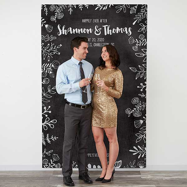 Personalized Wedding Photo Backdrop Chalkboard