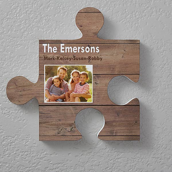 Personalized Puzzle Piece Wall Decor Rustic Wood