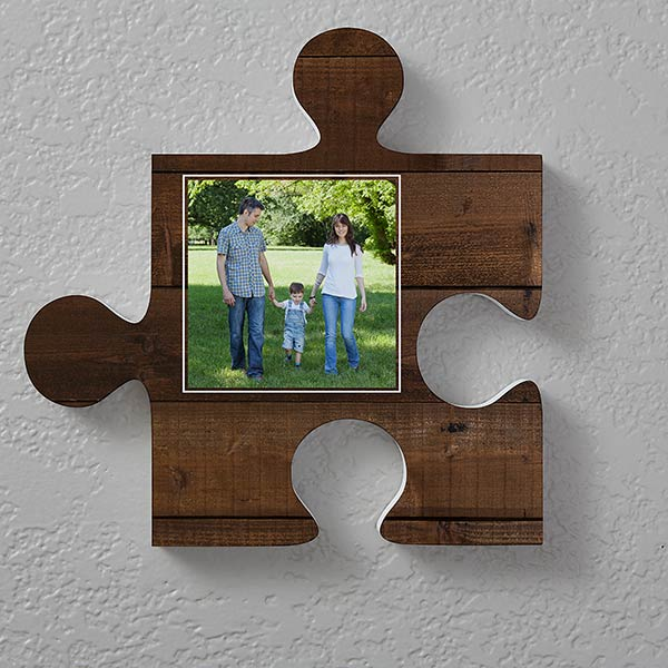 Personalized Photo Puzzle Piece Wall Decor Rustic Wood
