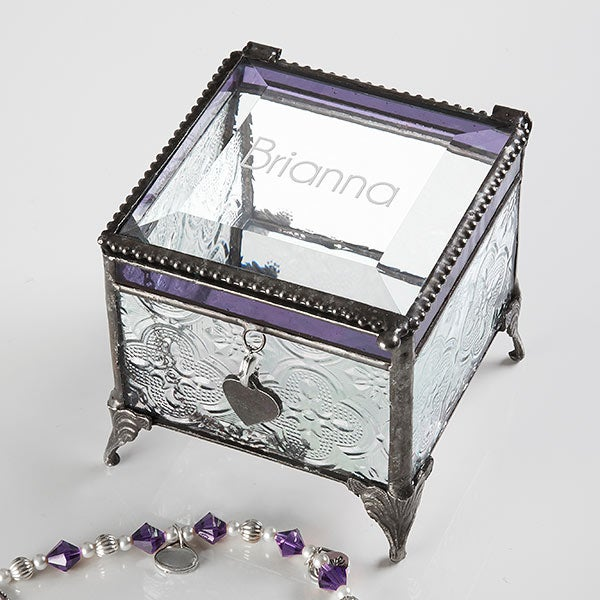 Personalized Jewelry Box Engraved Glass Name