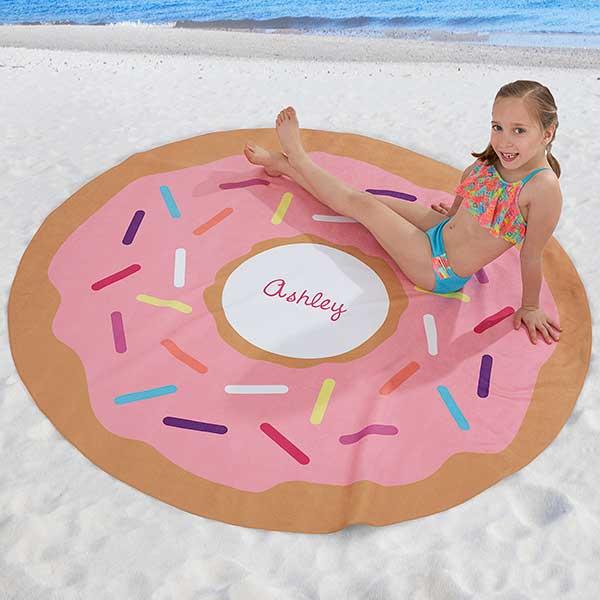 Personalized Round Beach Towel - Donut - 18382