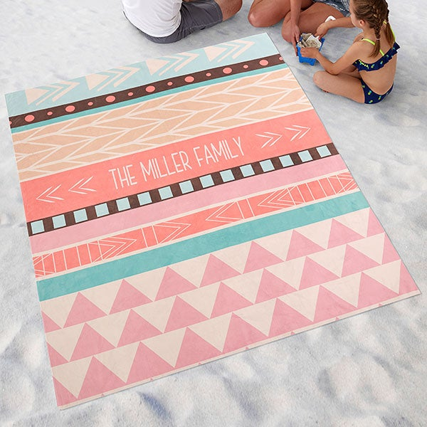 Personalized Beach Blanket - Bohemian Chic - 18385