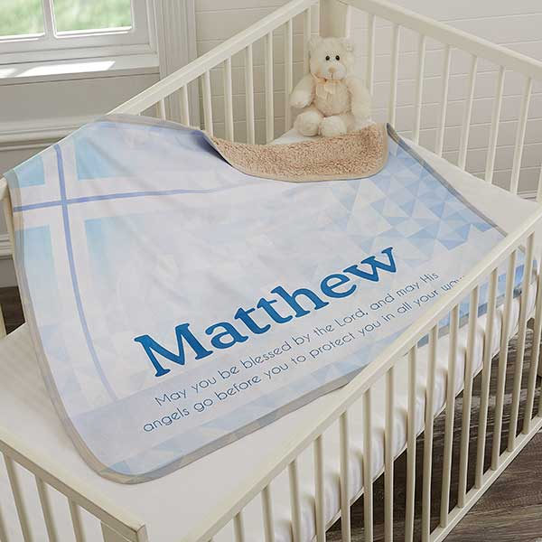 Personalized Christening Sherpa Blanket - Be Blessed - 18403
