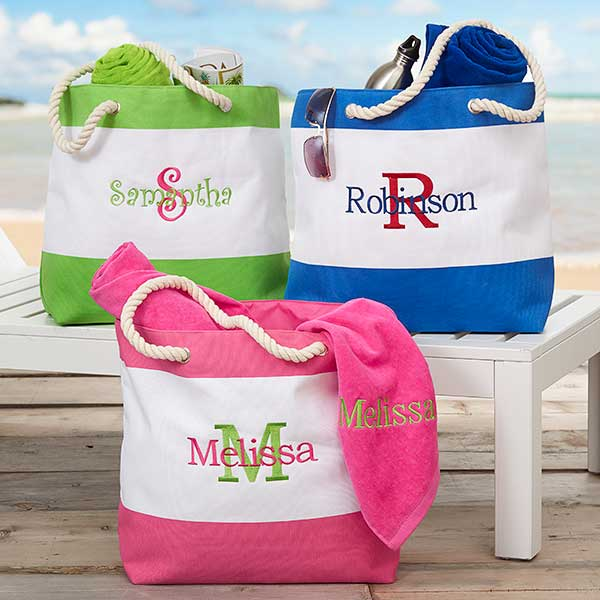 Embroidered Beach Tote Bags - Name & Initial - 18420