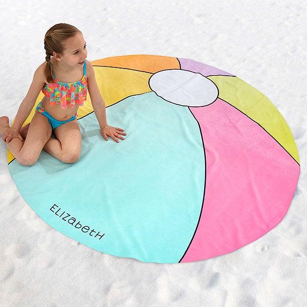 Personalized Round Beach Towel - Beach Ball - 18424