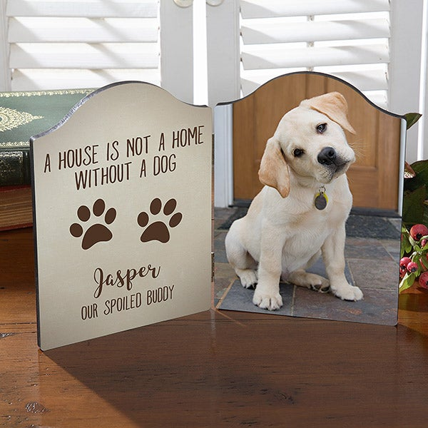 Personalized Dog Photo Plaque - Paw Prints - 18445