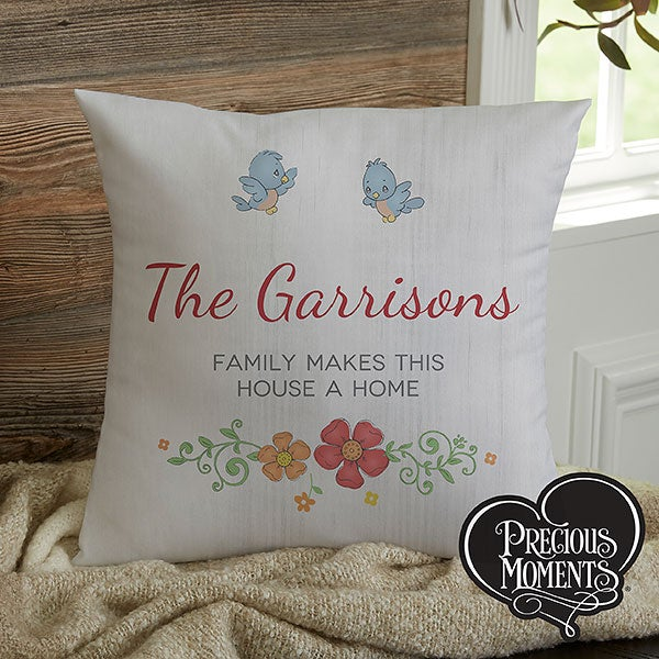 Precious Moments Floral Personalized Throw Pillow - 18469