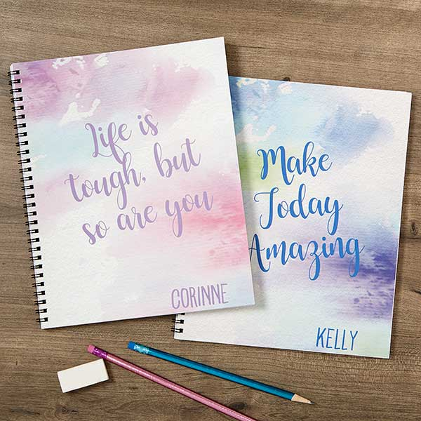 Watercolor Personalized Large Notebooks Set Of 2