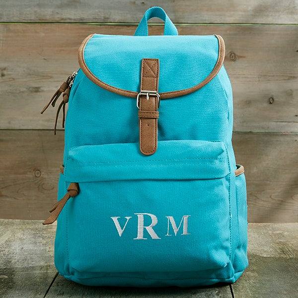 Washed Canvas Embroidered Backpack - Turquoise - 18527