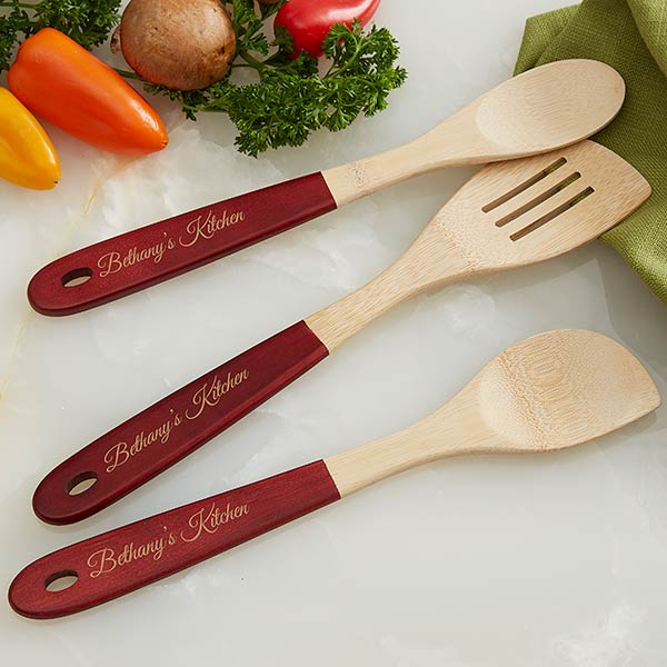 Personalized Bamboo Cooking Utensils - Add Any Text - 18535