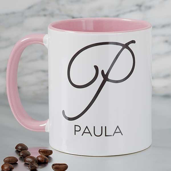 Name Initial Personalized Coffee Mug 11oz Pink