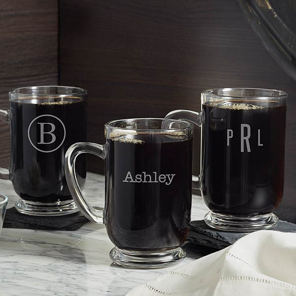 Personalized Glass Coffee Mugs - Classic Celebrations - 18563