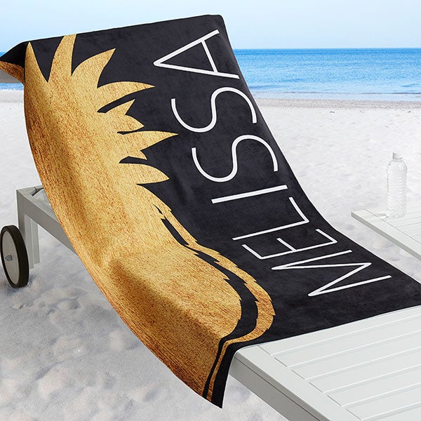 Personalized Beach Towel - Golden Pineapple - 18567